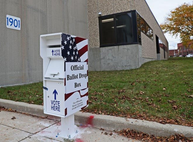 New City of Milwaukee absentee ballot drop boxes are being installed.  This is one at the Milwaukee Election Commission's warehouse at 1901 S. Kinnickinnic Ave.