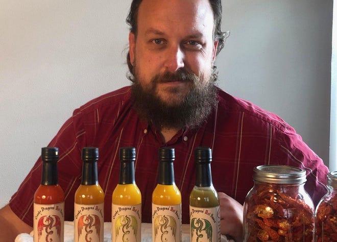 Matt Cook makes Cranky Dragons' Hot Sauce.