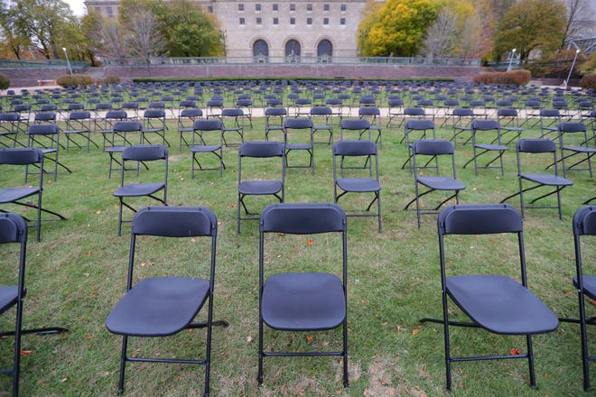 Some of the 600 chairs are set up at the newly created Milwaukee COVID-19 Memorial at MacArthur Square in Milwaukee on Tuesday, Oct. 27, 2020.