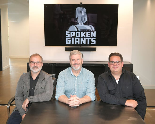 Former BMI executive Jim King,center, and 800 Pound Gorilla Records co-founders Damion Greiman, left, and Ryan Bitzer are launching Spoken Giants this week.  Spoken Giant mission: Its mission: There are millions in royalties have been unclaimed by, or simply not paid to, spoken word creators.