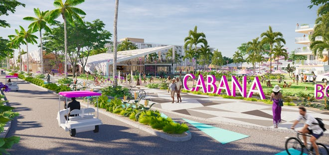 Rendering of Cabana Resort and Spa Grand Food Hall and Entry Park.
