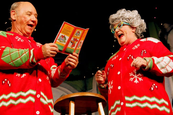 """What's funnier than an ugly Christmas sweater? A pair of them, on Rick Compton and Betsy Bennett in """"The Home for the Holidays."""""""