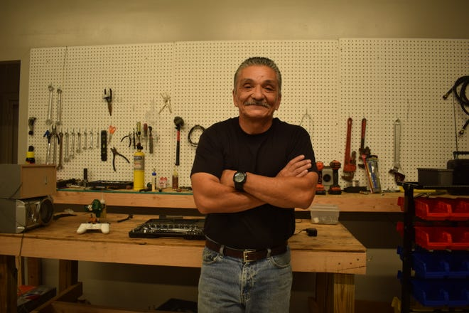 Louis Almendariz, resident at the Gospel Rescue Mission, also works as head of maintenance at the thrift store where he repairs cleaning equipment and home appliances.