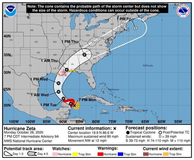 Hurricane Zeta probable path as of 7 PM CT
