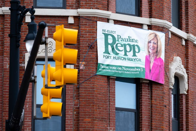 A banner support Port Huron Mayor Pauline Repp's run for re-election hangs from a building on Huron Avenue in downtown Port Huron.