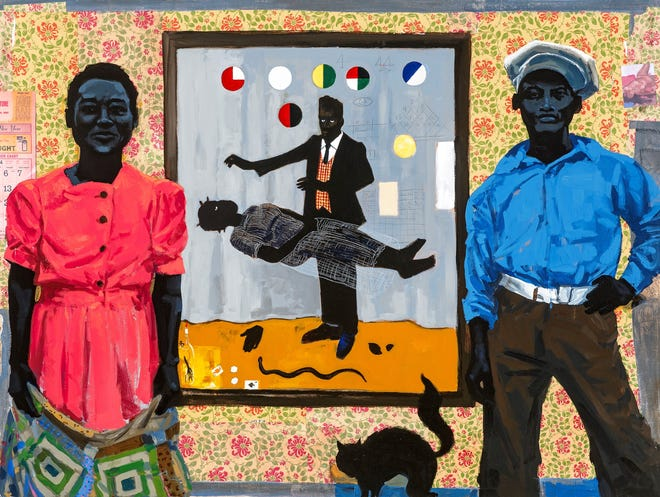 "Ransome's painting, ""Who Should Own Black Art"" on exhibit at Barrett Art Center."