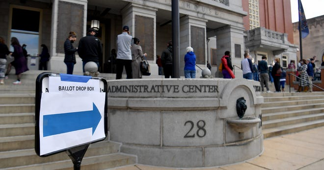 York County voters line up at the County Administrative Center to receive a mail-in ballot, Tuesday, October 27, 2020, the last day to apply for mail-in or civilian absentee ballots.John A. Pavoncello photo