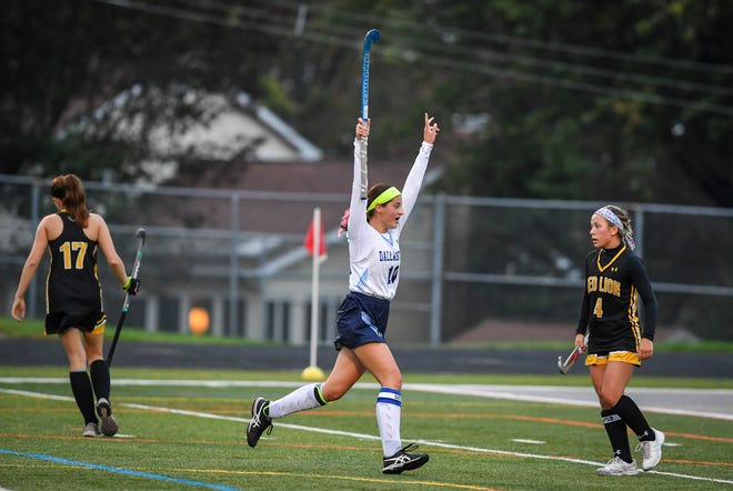 Dallastown's Camryn Eveler reacts after hitting the game winning goal for the Wildcats in overtime against Red Lion, Monday, October 26, 2020John A. Pavoncello photo