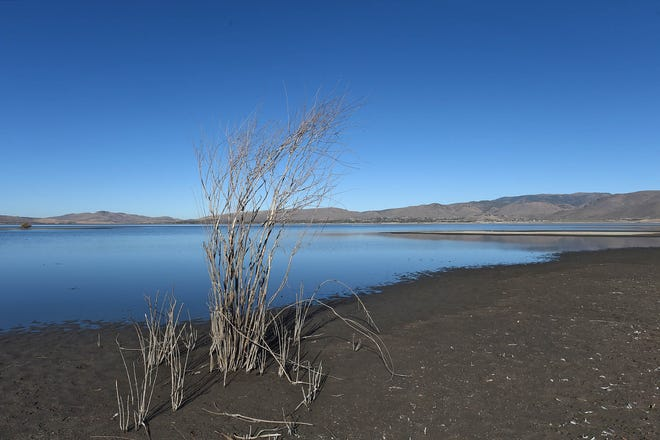 Washoe Lake is showing some signs of receding on Oct. 26, 2020.