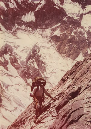 This photo of Maynard Cohick was taken in 1978 during an expedition in which he reached the summit of the tallest mountain in Russia: Mount Communism at 24,595 feet. The location is now in the nation of Tajikistan and is called Ismoil Somoni Peak.
