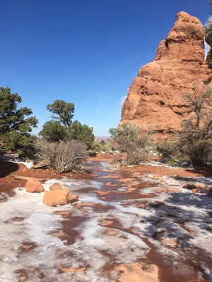 Trails at Arches National Park were iced over after winter weather hit the park on October 26, 2020.