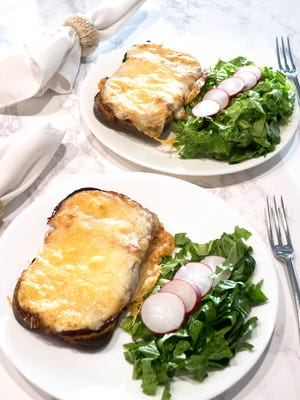 """Croque Monsieur, literally translated as """"crunch sir"""" is somewhat of a French grilled cheese sandwich."""