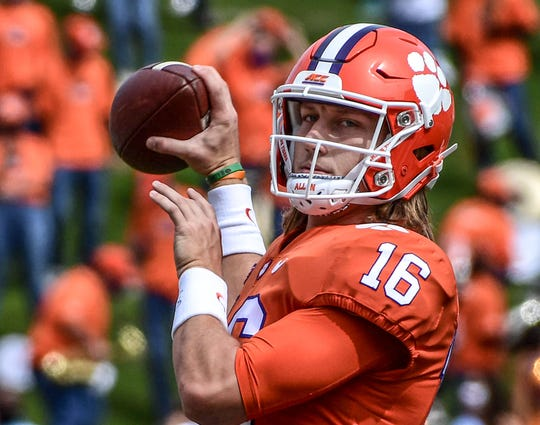 Clemson quarterback Trevor Lawrence(16) warms up before the game with The Citadel Saturday, Sept. 19, 2020 at Memorial Stadium in Clemson, S.C.