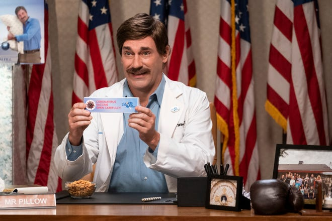 "Jon Hamm as ""Mr. Pillow"" in ""Sarah Cooper: Everything's Fine"" on Netflix."