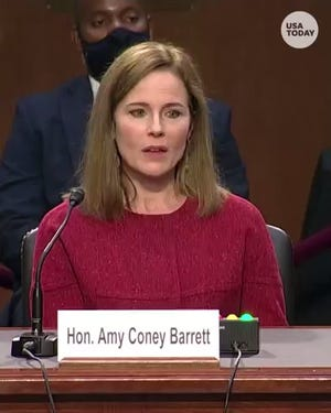 Associate Justice Amy Coney Barrett, here testifying during her Senate confirmation hearing, is President Trump's third Supreme Court nominee.