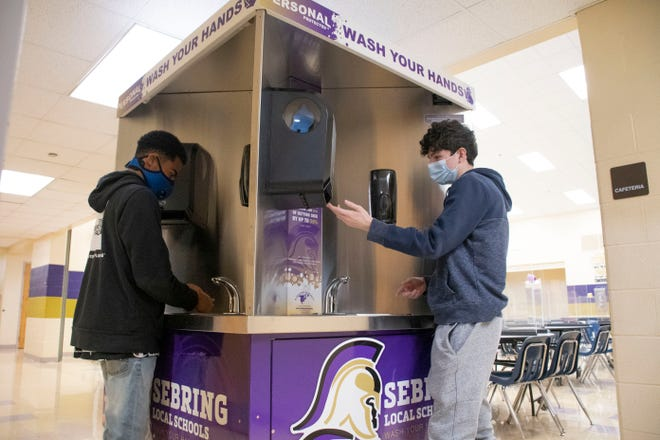 Sebring students will use the Quad-Sink for safe and convenient hand-washing during high-traffic times in the McKinley Jr./Sr. High School cafeteria.