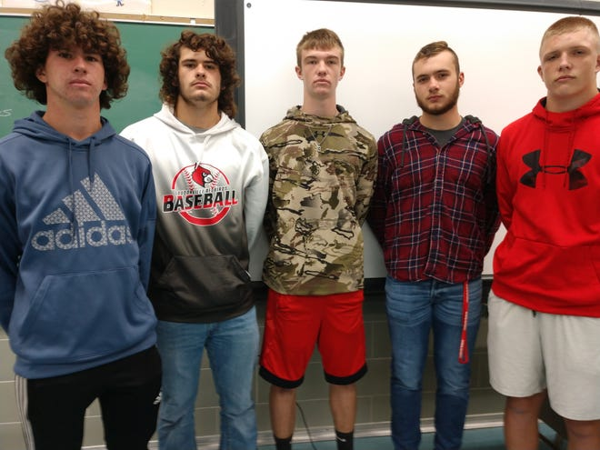 Senior members of the Redbird football team attending Loudonville High School are, from left, Trevor Portz, Bo Regan, Logan Huffman, Chuck Ganson and Brock Weiser.