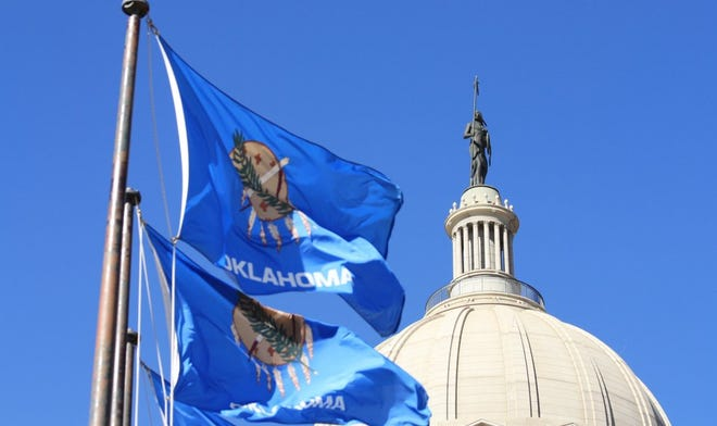 State flags wave at the Oklahoma Capitol.