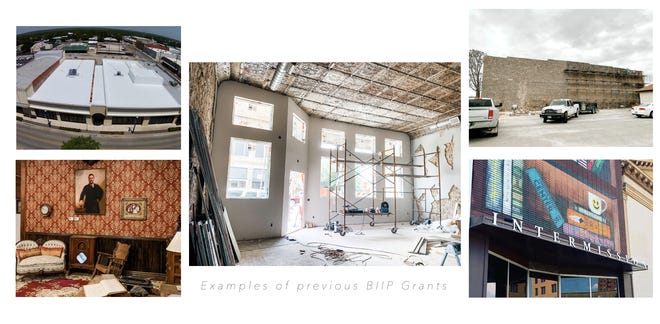 These photos show work being done through previous Building Improvement Incentive Program grants.
