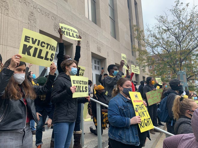 The group KC Tenants leads a protest against evictions Oct. 15 outside the 16th Circuit Court of Jackson County in Kansas City.