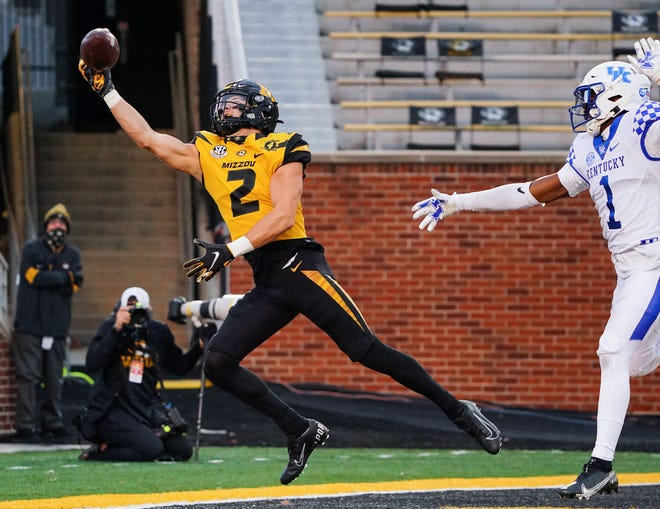 Missouri wide receiver Micah Wilson (2) tries to make a catch as Kentucky defensive back Kelvin Joseph (1) defends during a game Saturday at Faurot Field.