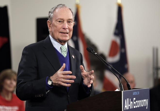 Former New York City Mayor Michael Bloomberg speaks at the Bounce Innovation Hub in Akron last January during his short-lived presidential campaign.