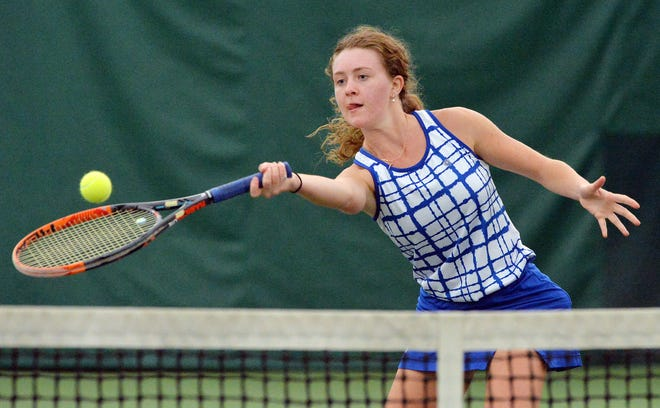 Villa Maria Academy senior Ryleigh Valone returns a shot against St. Mary's Area High School at No. 2 singles during the PIAA Class 2A girls team tournament quarterfinals at Westwood Racquet Club.