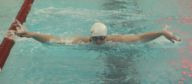 Hornell's Makayla Kriner flies down her lane during the 100 butterfly on Tuesday evening in Hornell.