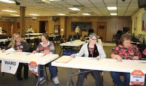 Peggy Broderick, Marie Patti, Crystal Herrington and Susan Wake work the polls at the Hornell VFW on Canisteo Street last year.