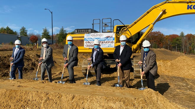Breaking ground for LDI Solutions' new facility are, from left, Jeremy Stanizzi, senior credit officer from BFA; Will Arvelo, director of economic development at NH Business and Economic Affairs; Jonathan Shapleigh, chairman of Rochester Economic Development Commission, Lou LaMarca, CEO of LDI Solutions; Josh Dame, President of LDI Solutions; and Blaine Cox, Rochester city manager.