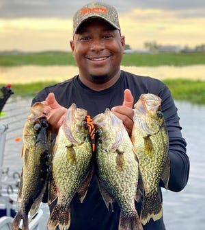 Lakeland resident Loel Johnson of Dr. Crappie Outdoors shows off some good size specks he caught at Lake Walk-in-the-Water this week.