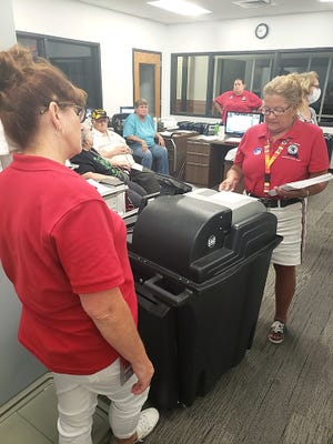 Employees of the Randolph County Clerk's office in Huntsville tested electronic ballot counting machinery Tuesday to ensure equipment in good working order. Chief Deputy Clerk Terri Maddox and Deputy Clerk Michelle Lee inspect the equipment, while Deputy Clerk Tara Clark and a couple citizens look on.