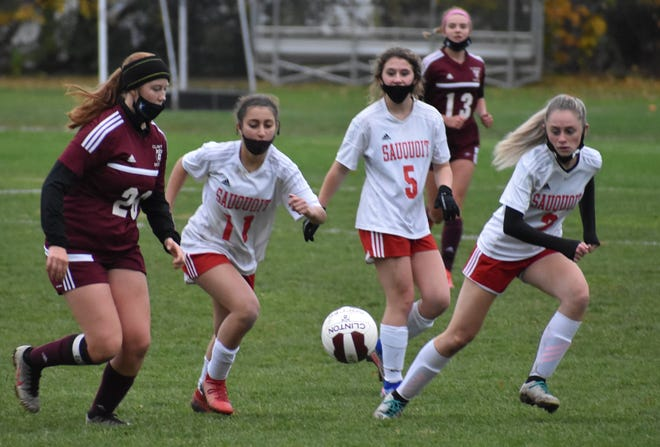Alena Weibel, Alyssa Shepherd and Olivia Kalil each scored three goals in Sauquoit Valley's 11-0 win over Oriskany during a girls soccer game Monday, Nov. 9, 2020, in Oriskany.