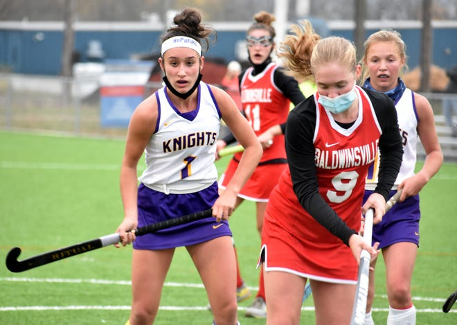Holland Patent's Hanna Corrigan (1) broke the field hockey program's single game record for goals in a game with six in Friday's 8-0 win over New York Mills. The previous school record was five goals, which was held by two former Golden Knights.