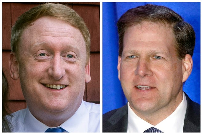 Democrat challenger Dan Feltes, left, and Republican incumbent Gov. Chris Sununu, right, are running for New Hampshire governor in the Nov. 3, 2020, general election.