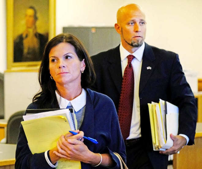Brenna Cavanaugh and her attorney Michael Zaino during her trial in Rockingham Superior Court.