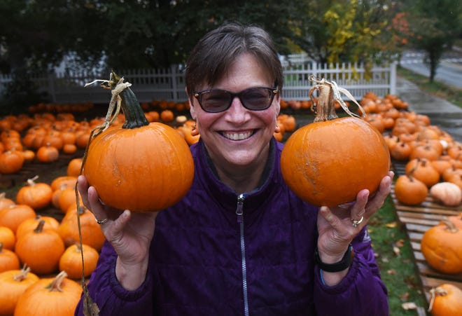 """Sue Richards is the coordinator of the """"Pumpkin Patch"""" annual October fundraiser at the First United Methodist Church in Portsmouth and COVID has not dampened the interest of people getting their pumpkins this year."""