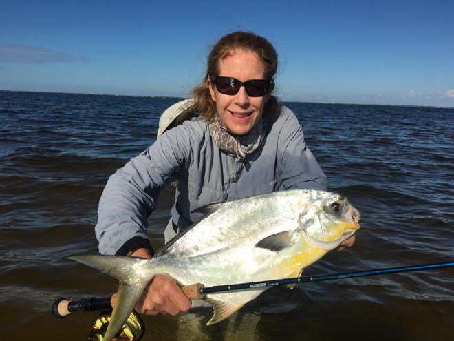Looking for pompano like this impressive fish Marcia Fick caught a few years back? Just north of Jensen Beach the bite has been excellent this past week.