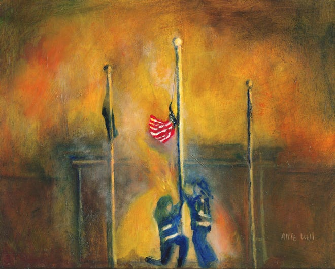 Artist Allie Lull's 'Patriotic Rescue' depicts a heroic act of patriotism.