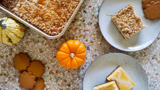 Two recipes for cheesecake bars with the season's spice, pumpkin.