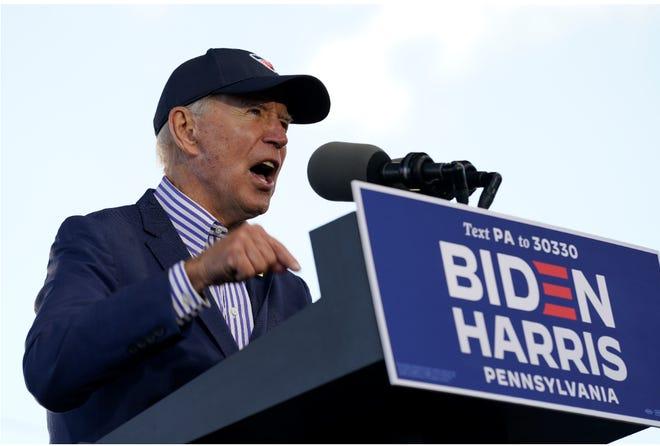 Former Vice President Joe Biden speaks at a campaign event at Dallas High School in Dallas, Pa., on Saturday. (AP Photo/Andrew Harnik)
