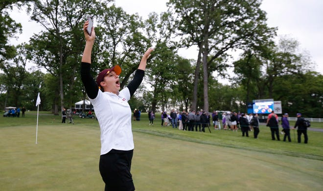 Arizona State's Monica Vaughn celebrates after the Sun Devils won the 2017 NCAA championship in Sugar Grove, Ill. Vaughn also was the individual winner that year.