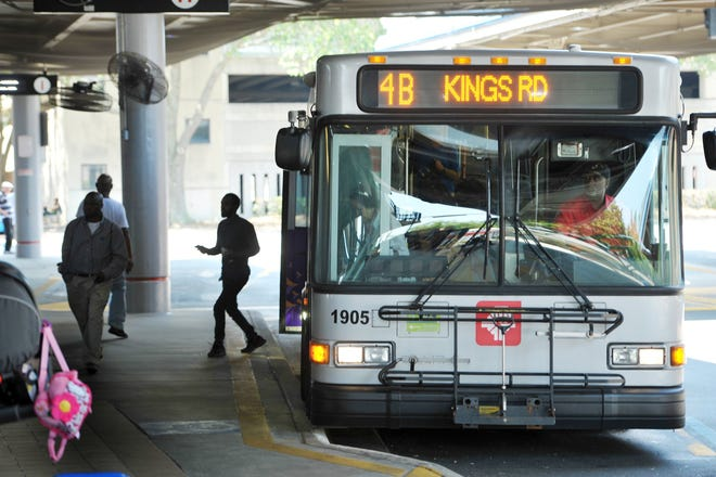 A bus stops at the Rosa Parks Transit Station on Wednesday, May 29, 2019, in Jacksonville.