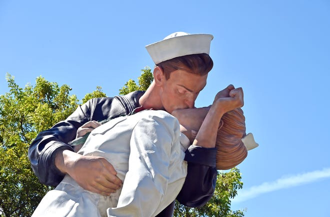 "The ""Unconditional Surrender"" sculpture is pictured during a V-J Day ceremony in August, marking the 75th anniversary of the commemoration of the end of World War II. A survey released by the city was supposed to help identify future sites for the iconic sculpture. Public records of survey data reveal that thousands of votes were cast by just a handful of IP addresses."