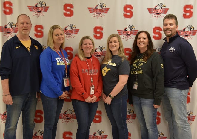The Smyrna High School counselors, pictured during College Appreciation Week in 2019, from left: James Kiger, Tiffany Duke, Jennifer Wagner, Ashley Carrow, Loveita Moffett and Ron Girton. Not pictured: Sara Black, registrar, and Brenda Solloway, administrative assistant.