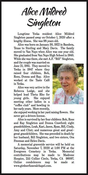 Obituary: Alice Mildred Singleton