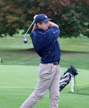 St. Bernard's sophomore Patrick Ginnity follows his drive off the tee.