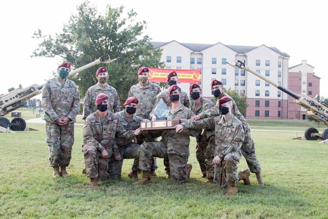 Paratroopers assigned to the 82nd Airborne Division receive the Best of the Best Award on Oct. 23, 2020, at Fort Bragg. The paratroopers were being awarded for their battle readiness and excellence in the field.