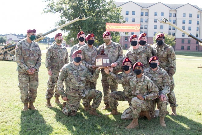 Paratroopers assigned to the 82nd Airborne Division receive the Best of the Best Award on Oct. 23, 2020, at Fort Bragg, NC. The paratroopers were being awarded for their battle readiness and excellence in the field.