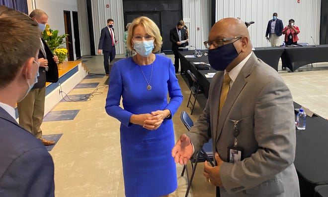 U.S. Secretary of Education Betsy DeVos was in Fayetteville on Tuesday for aroundtable discussion about school choice at Alpha Academy off Raeford Road.